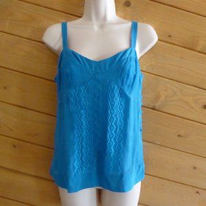 DVF Blue Embroidery 100% Silk Summer Cami Tank Top